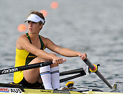 Brandenburg, GERMANY,  AUS, BLW1X, Carley COTTAM, moves away from the start at the 2008 FISA U23 World Rowing Championships, {idow], {date}, [Mandatory credit: Peter Spurrier Intersport Images]. Rowing Course: Brandenburg, Havel Rowing Course, Brandenburg, GERMANY