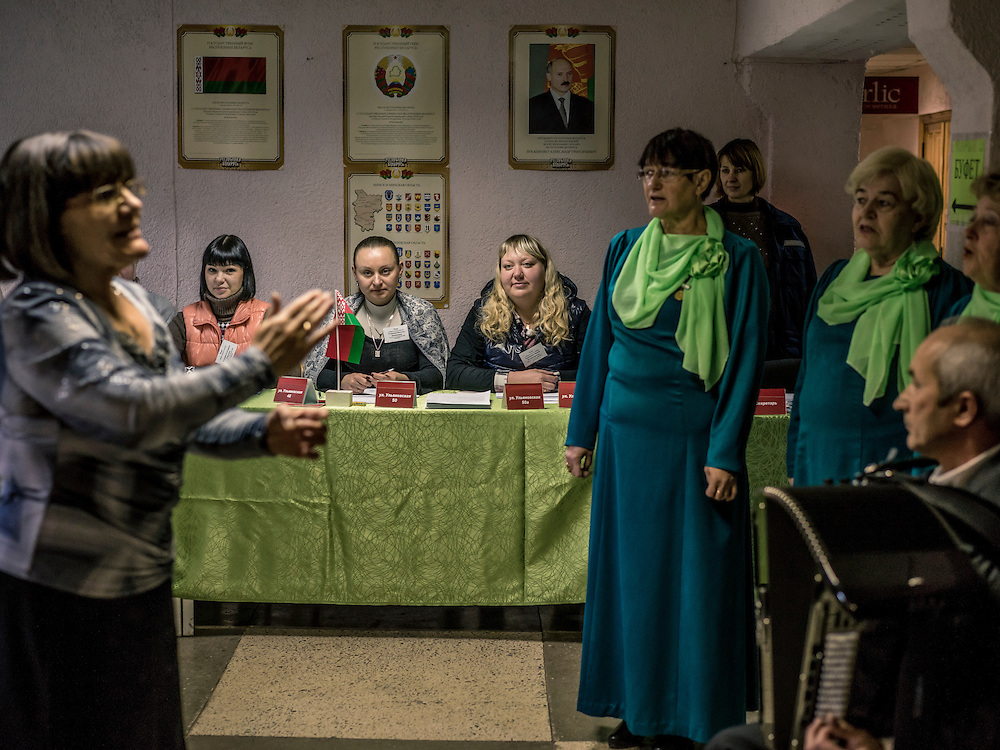A choir performs inside a polling station on Sunday, October 11, 2015 in Babruysk, Belarus. President Alexander Lukashenko was elected to a fifth term today in a vote that most international observers considered deeply flawed.