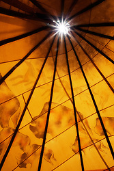 Interior of a teepee (tipi). Taos, New Mexico.