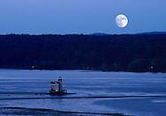 Kingston Lighthouse; Landscape; Travel Kingston; beacon; hudson river; lighthouse; moon; new york; twilight