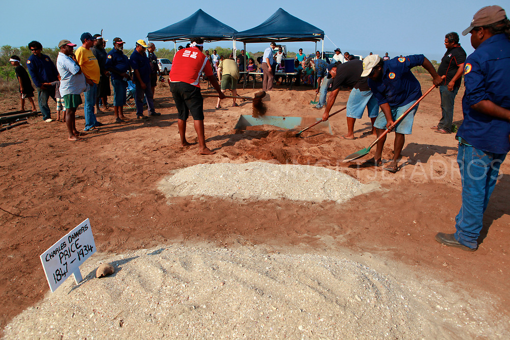 In the Bidyadanga community the remains of 17 Kimberley Aboriginal people have been returned home more than a century after they were taken and put on display in museums around Australia. And are now buried on a hill near the beach. The repatriation of skeletal remains collected by scientists and now returned to their ancestral homes. Bidyadanga community , WA