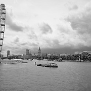 London Eye - River Thames - Parliment - London, UK - Black & White