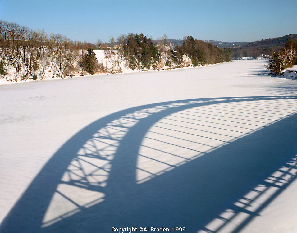 Shadow of Rt. 9 Bridge on Connecticut River, Brattleboro, VT