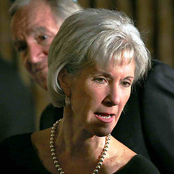 US Department of Health and Human Services Secretary Kathleen Sebelius today. Senator Tom Harkin is behind her.
