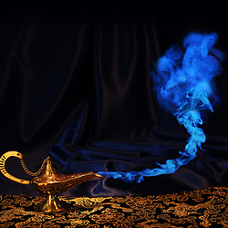 magic Aladdin genie lamp with blue smoke, but no genie face