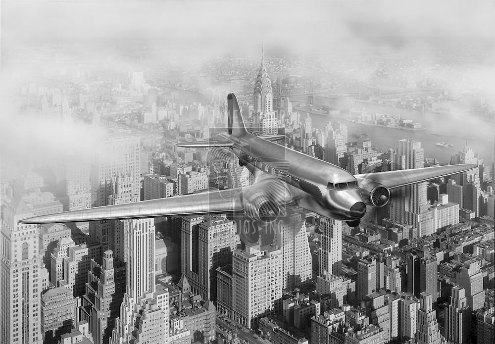Vintage image of a Douglas DC-3 over New York City