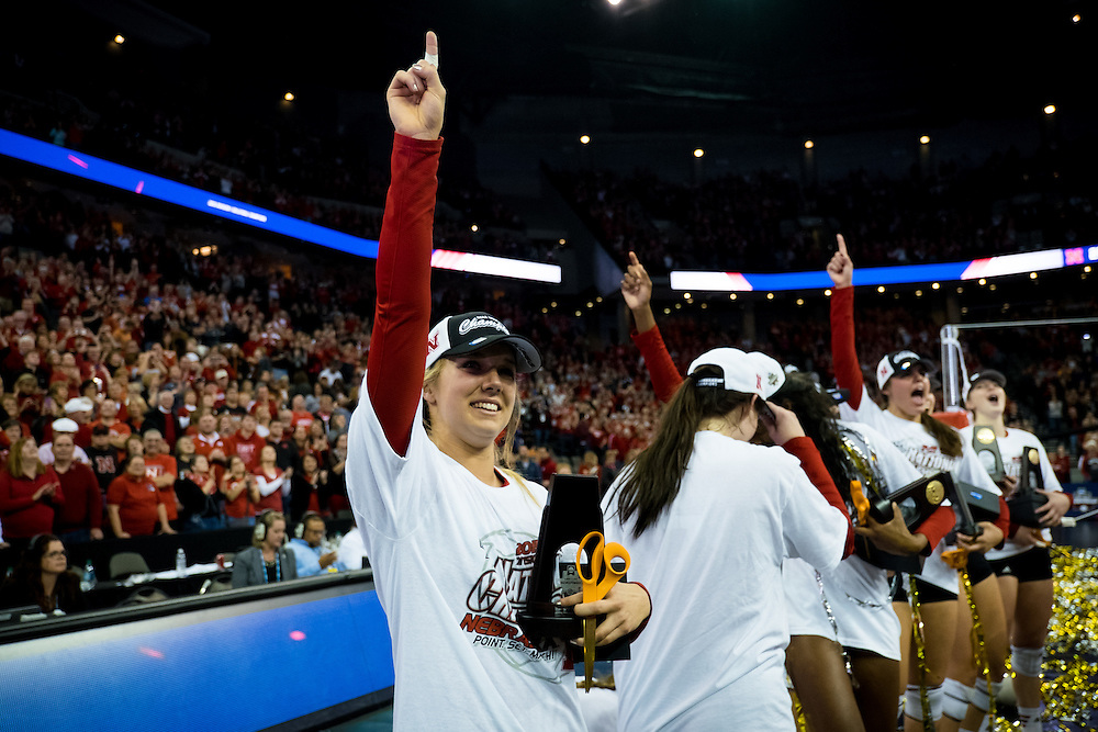 OMAHA, NE - DECEMBER 19: Middle blocker Cecilia Hall #9 of the Nebraska Cornhuskers celebrates after winning the NCAA finals match against the Texas at the CenturyLink Center on December 19, 2015 in Omaha, Nebraska.  (Photo by Eric Francis)