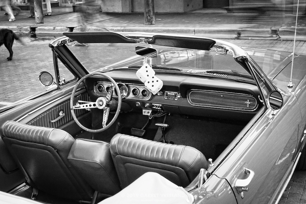 Vintage Ford Mustang dashboard.