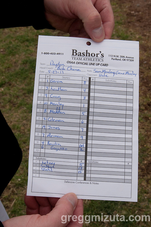 Dayton Pirates' line-up card for the 3A Oregon State Baseball Championships quarterfinals game against Vale on May 27, 2011 at Cammann Field, Vale, Oregon.