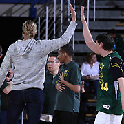 87ers Goodwill Ambassador and WNBA All star Elena Delle Donne (LEFT) high five members of the Dragons Basketball team after a friendly game of basketball during half time of a NBA D-league regular season basketball game between the Delaware 87ers and the Erie BayHawk (Orlando Magic) Friday, Mar. 20, 2015 at The Bob Carpenter Sports Convocation Center in Newark, DEL.