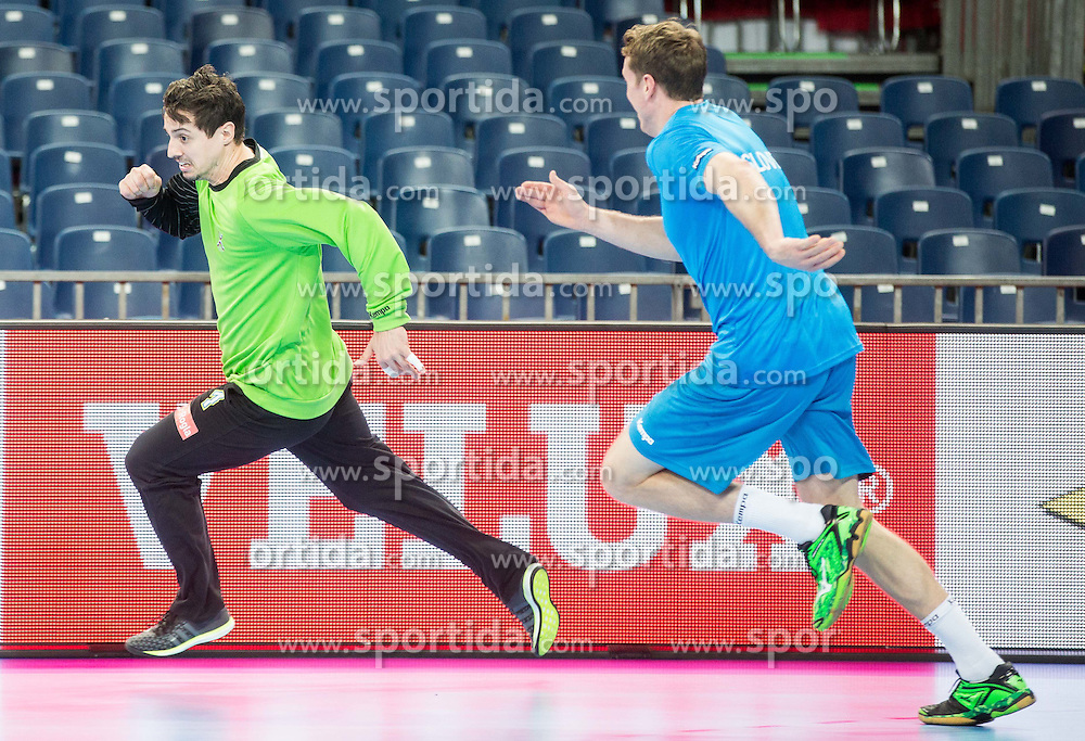 Matevz Skok of Slovenia and David Miklavcic of Slovenia during practice session of Team Slovenia on Day 1 of Men's EHF EURO 2016, on January 15, 2016 in Centennial Hall, Wroclaw, Poland. Photo by Vid Ponikvar / Sportida