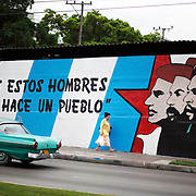 Propaganda in Havana, Cuba. While outdoor advertising is not allowed in Cuba, pieces of communist-style propaganda extolling the Revolution, Castro, and other Military personnel, can be found everywhere, from graffiti and murals to flyers and billboards.