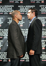 May 22, 2008; New York, NY, USA;  WBA Welterweight Champion Miguel Cotto (l) and Antonio Margarito (r) pose during the press conference announcing their  fight.  The two will meet on Saturday, July 26, 2008 at the MGM Grand Garden Arena in Las Vegas, NV.