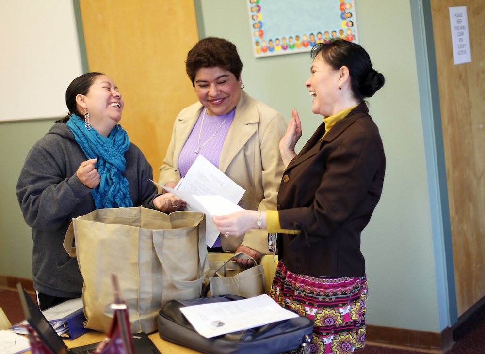 A weekly parent-teacher meeting with parents such as Santa Sanchez, left, at King Elementary School on Wednesday, March 7, 2012.