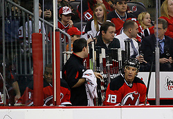 Jan 21, 2008; Newark, NJ, USA; New Jersey Devils left wing Brendan Shanahan (18) sits on the bench during the second period of their game against the Montreal Canadiens at the Prudential Center.