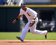 CHICAGO - APRIL 23:  Jose Abreu #79 of the Chicago White Sox fields against the Texas Rangers on April 23, 2016 at U.S. Cellular Field in Chicago, Illinois.  The White Sox defeated the Rangers 4-3 in 11 innings.  (Photo by Ron Vesely)   Subject: Jose Abreu