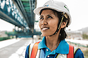 Malaysia / Kuala Lumpur <br /> <br /> VSL / Creation of the Sungai Buloh - Kajang Line (Blue Line) for MRT Malaysia / Construction sites / Section V7 - Bridge -Erection &amp; PT / Workers at Gantry (woman worker) <br /> <br /> <br /> &copy; Daniele Mattioli for Bouygues
