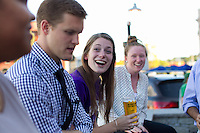 From left Yachira Torres, Kyle Flanagan, Grace Gallagher, and Kaytlyn Kelley, all of Worcester chat while on the patio of the tap room at Wormtown Brewery in Worcester, Massachusetts on August 28, 2015.  Matthew Healey for The Boston Globe<br /> <br /> (MAGAZINE Story Editor Francis Storrs, Assigning editor Jim Wilson, Visuals editor Lloyd Young)