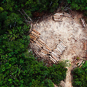 Aerial view of a log sorting yard carved from the Amazon rainforest near  Altamira, Para state, Brazil, September, 2013.