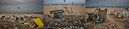 PLASTIC NIGHTMARE: Plastic invades the beach.<br /> (L): DREAM: Makeshift slum houses, protected from rain with plastic sheeting has overflowed onto Foreshore Estate Beach in southern Chennai, leading to a build up of discarded plastic, organic trash and sewage.  Tamil Nadu, India.  <br /> (C): Discarded plastic rubbish creates a gauntlet to cross to access Foreshore Estate Beach in Chennai.  Tamil Nadu, India.<br /> (R): A slum has overflowed onto Foreshore Estate Beach in southern Chennai, leading to a build up of discarded plastic and sewage.  India.
