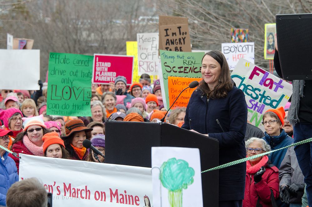 Augusta, Maine, USA. 21st Jan, 2017. Maureen Drouin, Executive Director of Maine Conservation Voters, address the Women's March on Maine rally in front of the Maine State Capitol. The March on Maine is a sister rally to the Women's March on Washington. Credit: Jennifer Booher/Alamy Live News
