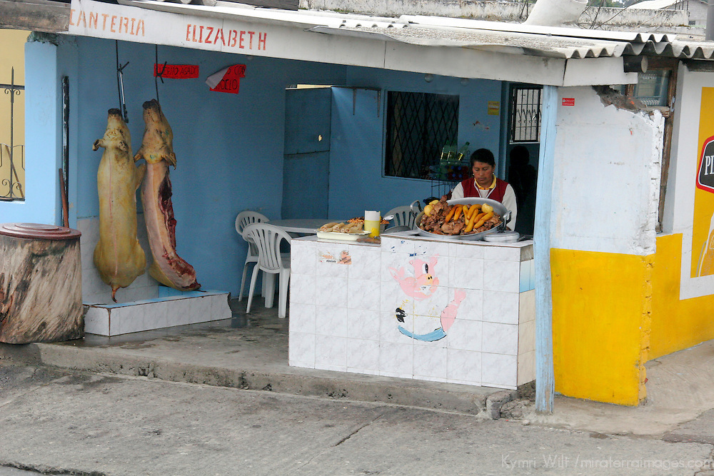 South America, Ecuador, Calderon. Meat vendor in Calderon, a small Andean town outside of Quito.