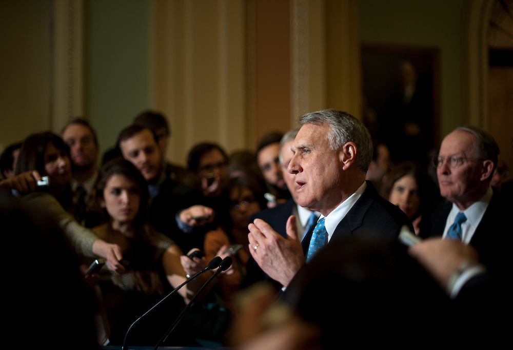 Senator JON KYE (R-AZ) speaks at a press conference outside of the Senate Chamber following the weekly party caucus lunches on Tuesday at the U.S. Capitol.