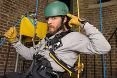 FEB 25 2014 Tom Hardy abseils with the Royal Marines