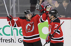May 6, 2012; Newark, NJ, USA; New Jersey Devils right wing Petr Sykora (15) and New Jersey Devils defenseman Marek Zidlicky (2) celebrate Sykora's goal during the first period in game four of the 2012 Eastern Conference semifinals at the Prudential Center.