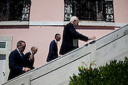 The three former presidents of Portugal, Jorge Sampaio (1996-2006), Mario Soares (1986-1996), Ramalho Eanes (1976-1986) and Cavaco Silva, current Portuguese President of the Republic, in the ceremonies of the 37 Anniversary of April 25. Date of the revolution in Portugal which destornou the dictatorial regime of Salazar and ordered democracy. Also known as the Carnation Revolution. 25/04/2011 NO SALES IN PORTUGAL