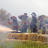 "Superb Reenactment of the Battle of Glorieta pass, aka ""the Gettysburg of the West"". Confederate forces fire upon advancing Union forces in a bid to ensure a successful invasion of the New Mexico territory during the war."