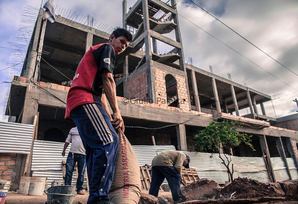 Workers building a new mosque in Ciudad del Este, Paraguay