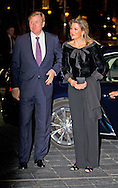 21-11-2014 THE HAGUE - King Willem-Alexander and Máxima attend Her Majesty Queen Friday November 21, 2014 the anniversary concert of the Orchestra in Residence Dr. Anton Philips Hall in The Hague. The Hague Philharmonic celebrates its 110th anniversary. COPYRIGHT ROBIN UTRECHT