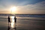 April 2009 Saint Lucia, KwaZulu Natal, South Africa. Fishing on their honeymoon: Andre Smith & Elisha Smith