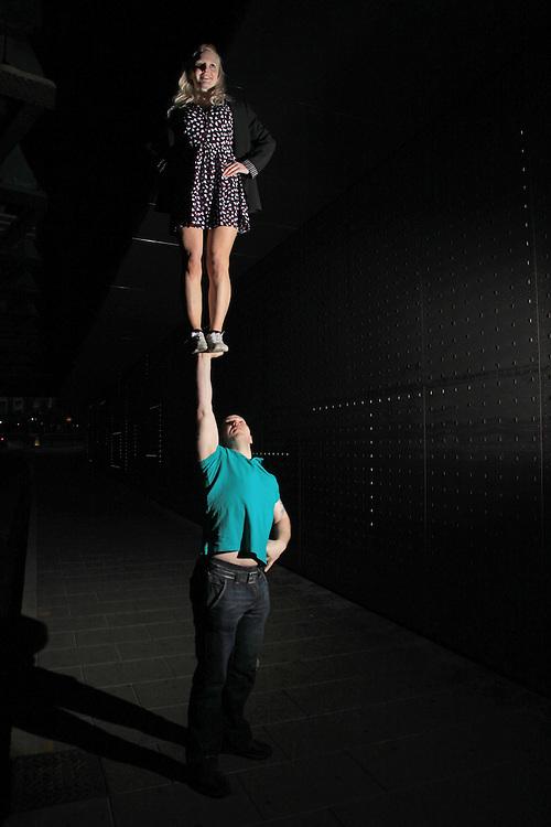 artistic cheerleading single based partner stunt cupie / awesome