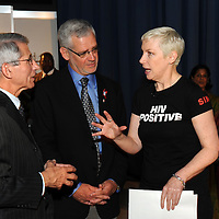 Austria, Vienna. XVIII International AIDS Conference (AIDS 2010).Tuesday Plenary.Photo shows: l to r: Antony Fauci, National Institute of Allergy and Infectious Diseases at the National Institute of Health, USA; Julio Montaner, AIDS 2010 Chair, President of the International AIDS Society; Annie Lennox, Singer/songwriter, Founder of SING..©IAS/Steve Forrest/Workers' Photos.