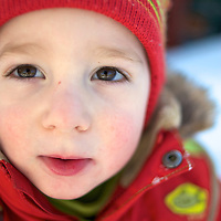 Toddler in winter suit