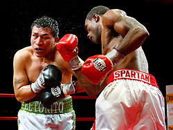 October 29, 2008; Lyndhurst, NJ; USA;  Vivian Harris knocks out Octavio Narvaez in the sixth round of their fight at Medieval Times in Lyndhurst, NJ.  Harris was knocked down twice in the first round, but rallied to stop Narvaez.