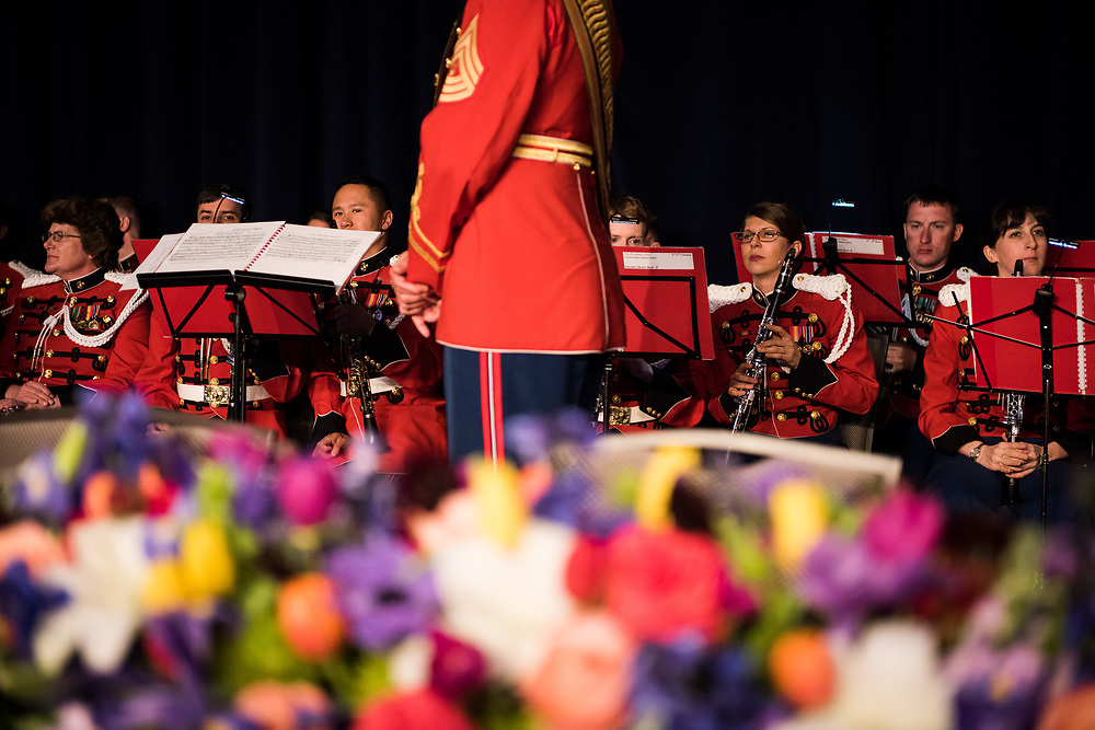 Members of the United States Marine Band prepare to play the national anthem from behind the head table of the White House Correspondents' Dinner in Washington, D.C. on April 29, 2017. CREDIT: Mark Kauzlarich for CNN