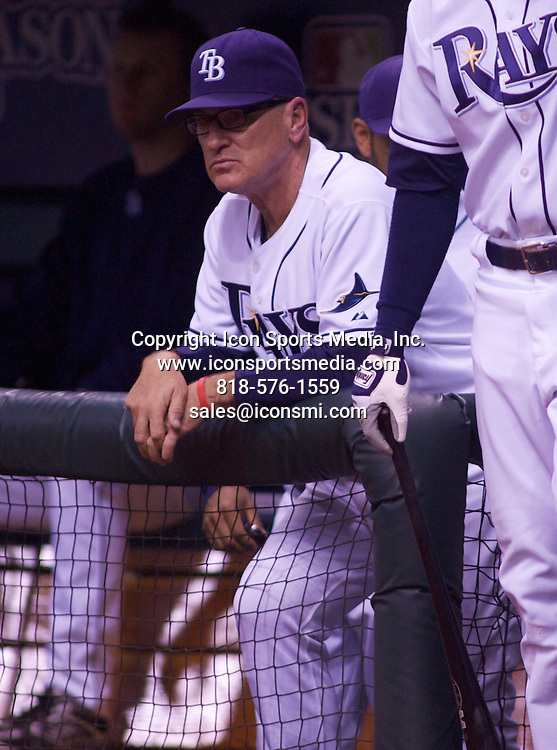 18 OCTOBER 2008: Tampa Bay Rays Manager Joe Maddon during Game 6 of the ALCS between the Boston Red Sox and the Tampa Bay Rays at Tropicana Field in St. Petersburg, FL. The Red Sox beat the Rays 4-2 and even the series 3-3.