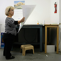 Barb Kotzian looks at documents for printing in her job as a graphic designer at Alpine Printing in Arvada, Colorado March 22, 2010.  About four-feet-tall,  Barb and her husband are both achondroplasia dwarfs, a rare genetic disorder of bone growth.  Preferring to be called little persons they both are active in the Little People of America, the only dwarfism support organization that includes all 200+ forms of dwarfism.  REUTERS/Rick Wilking (UNITED STATES)