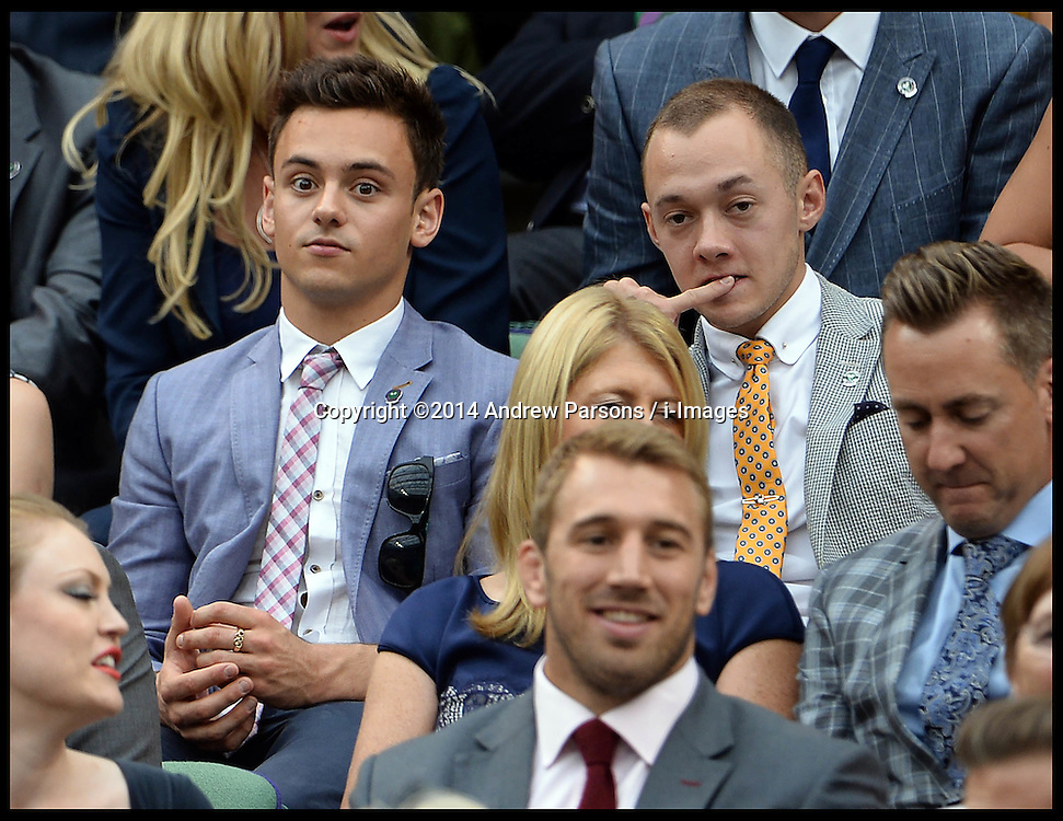 Image ©Licensed to i-Images Picture Agency. 28/06/2014, Wimbledon, London, United Kingdom. Tom Daley and Joe Cant in the Royal box on Day 6 of the Wimbledon Tennis Championship. Picture by Andrew Parsons / i-Images