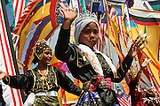 Young Bajau Laut, or sea gyspsy, dancing at the annual Lepa Lepa festival, Semporna, Sabah, Malaysia.