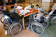 PARO (Seal-like healing Robot) interacting with pentioners  at the &ldquo;Toyoura&rdquo; nursing home. PARO has already sold 500 pieces in Japan from which 80% went to individual people and the rest to nursing homes.  In 2002 it won its place at the &ldquo;Guinness Book of Records&rdquo; as &ldquo;The Most Therapeutic Robot&rdquo;.<br /> http://www.paro.jp/english/index.html - TOKYO  20/4/2005