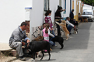 locals with their dogs in Jose Saramago's birth place Aldeia da Azinhaga, central Portugal . Portuguese Nobel Prize of Literature, Jose Saramago, died at his house in Lanzarote on June 18. PAULO CUNHA/4SEEPHOTO