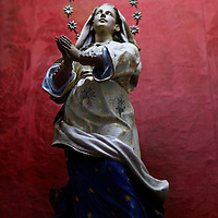 Central America, Cuba, Remedios. Rare pregnant virgin statue at Iglesia Mayor of San Juan Bautista de los Remedios.