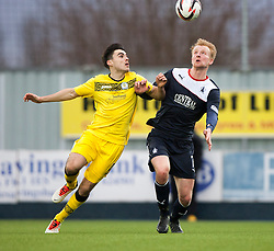 Queen of the South's Ian McShane and Falkirk's Mark Beck.<br /> Falkirk 1 v 0 Queen of the South, Scottish Championship game today at the Falkirk Stadium.<br /> &copy; Michael Schofield.