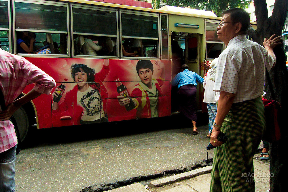 People at Yangon's buses