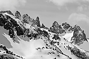 The Minarets in winter, Ansel Adams Wilderness, Sierra Nevada Mountains, California