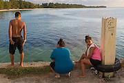 Boys and girls on Sugar Dock, Saipan.